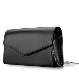 Handbags - Black Leather Clutch Bag with Chain